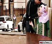 Arab babe sucks on dick and gets fucked