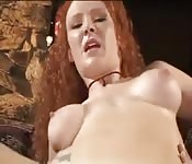 Busty redhead likes two cocks all at one time