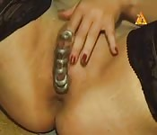 Mature woman's got rings in her clitoris