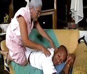Granny massage the black dude and fucked the dude.