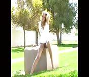 Horny girl masturbates in public