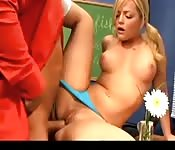 Thong-clad schoolgirl getting nailed by her burly teacher