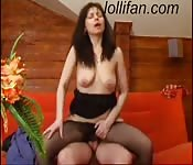 Brunette MILF with natural tits fucks her stepson