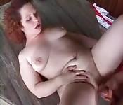 Chubby redhead fucked outdoors