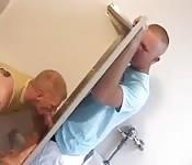 Gay men in toilet glory hole blowjob stunts