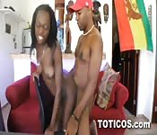 Sexy Dominican loves getting a hard cock