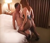 Stocking-clad mature hooker getting fucked hard in a hotel room