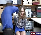 Teen babe sucks and fucked by LP officer