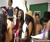 Wild sex at a crazy college dorm party orgy