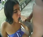 Costa Rica babe interracial outdoor