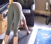 Amateur blonde doing yoga gets fucked well