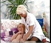 Old mature nurse lady
