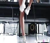 Petite brunette teen passion striptease
