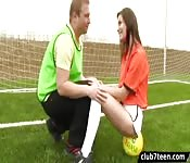 Soccer teacher fucked girl in the locker room
