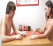 Teen siblings play strip poker