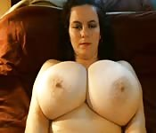Boobs like baseballs on this BBW milf!