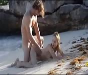 Horny sex on a deserted beach