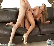 Boisterous high-heeled ho getting banged doggy style