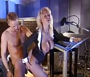 Busty MILF gets banged at a recording studio