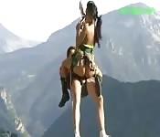 Wild Thai slut enjoying a tongue fuck while mountain climbing
