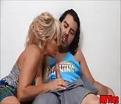Blonde stepmom welcomes her stepson home with more than a kiss