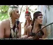 Hot Native babes get banged in the forest