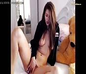 Pretty horny brunette solo pussy fingering masturbation