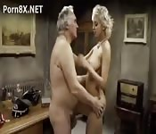 Young stunner pleasures old man