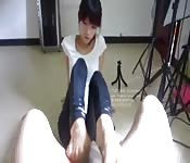 Young Chinese foot job expert