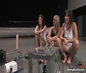 Ladies squirting playing with sex machines.