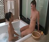 Lubed lesbians licking pussy