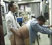 Big fat Asians enjoying cock sucking after the office