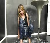 Gal gets messy with a crazy amount of cum after sucking through a gloryhole