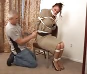 Teacher tied up, gagged and fucked