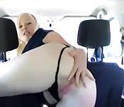 Amateur Swedish girl solo fun in the car