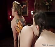 Mistress in corset anal fucks two babes