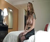 Sweet MILF with big tits in stockings looking for some cock