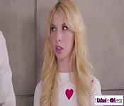 Blonde teen licks her stepmom and her lesbian boss
