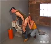 Horny Daddy makes his sub services him on a toilet