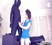 Femdom handjob from a cig-smoking Domme