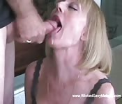 Blonde grandma gets a vibrator inside before sucking and swallowing