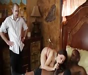 Wife fucks her husband's boss in front of him