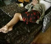Pervy young man starts to touch, lick and kiss a sleeping woman