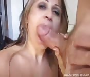 Wife sucks fat cock