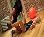 Ebony and blonde babe sexy workout