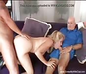 Dad and son bang the new pretty wife