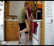 BLonde MILF gets fucked in the kitchen