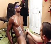 Gorgeous black stud fucked hard