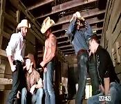 Wild gangbang in the barn