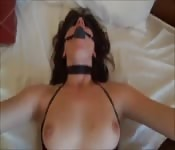 Blindfolded and gagged and fucked in the ass